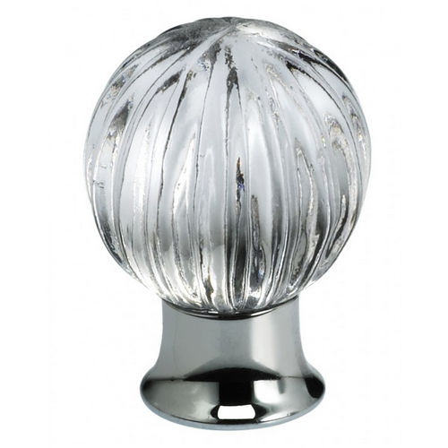 Omnia 4405/30.3T-RS Transparent Rose Glass Cabinet Knob 1-3/16