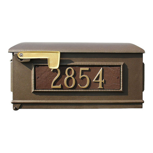 QualArc LMC-800-SL-BZ Fluted Mailbox with Post & 3 Address Plates, Bronze