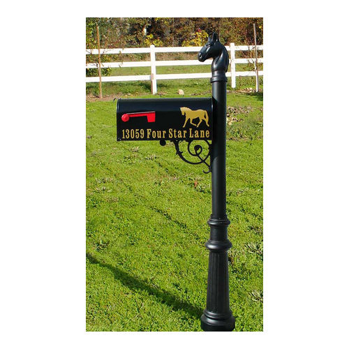 QualArc LPST-801-E1-BL Lewiston Post with E1 Economy Mailbox with Fluted Base & Horsehead