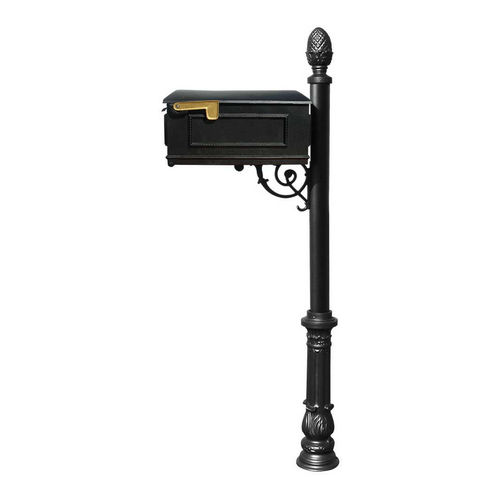 QualArc LM-703-LPST-BL Lewiston Mailbox with Lewiston Post, Black