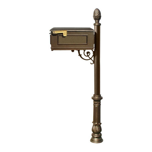 QualArc LM-703-LPST-BZ Lewiston Mailbox with Lewiston Post, Bronze