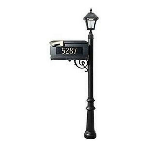 QualArc LMC-800-SL-BL Fluted Mailbox with Post & 3 Address Plates, Black,