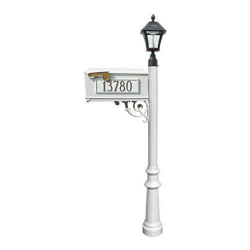 QualArc LMC-800-SL-WHT Fluted Mailbox with Post & 3 Address Plates, White