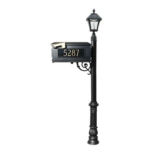 QualArc LMC-700-SL-BL Ornate Mailbox with Post & 3 Address Plates, Black,