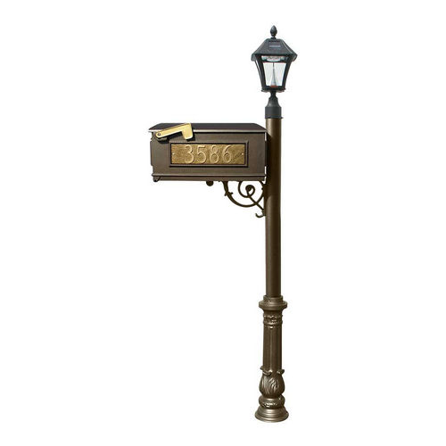 QualArc LMC-700-SL-BZ Ornate Mailbox with Post & 3 Address Plates, Bronze