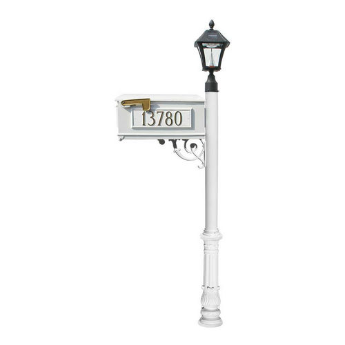 QualArc LMC-700-SL-WHT Ornate Mailbox with Post & 3 Address Plates, White
