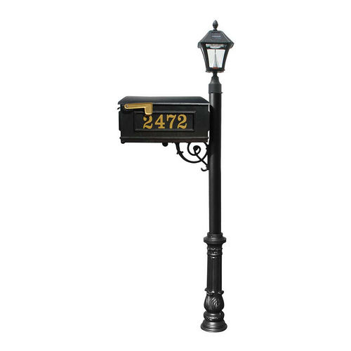 QualArc LMCV-700-SL-BL Ornate Mailbox with Post & with Vinyl Number On Mailbox, Black