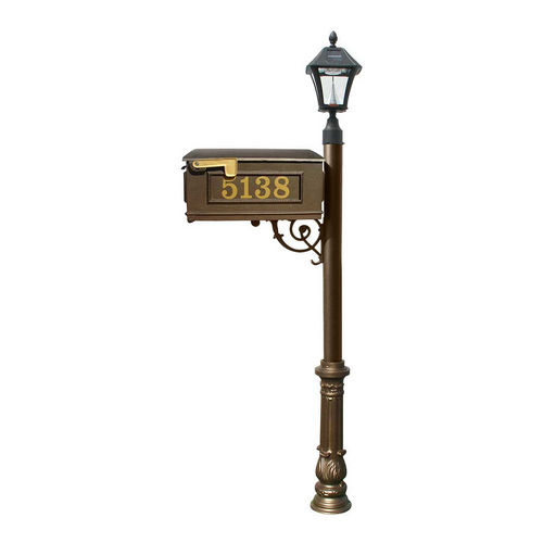 QualArc LMCV-700-SL-BZ Ornate Mailbox with Post & with Vinyl Number On Mailbox, Bronze