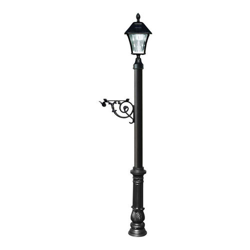 QualArc LPST-700-SL-BL Lewiston Post Only with Support Brace, Black with Black Bayview Solar Lamp.