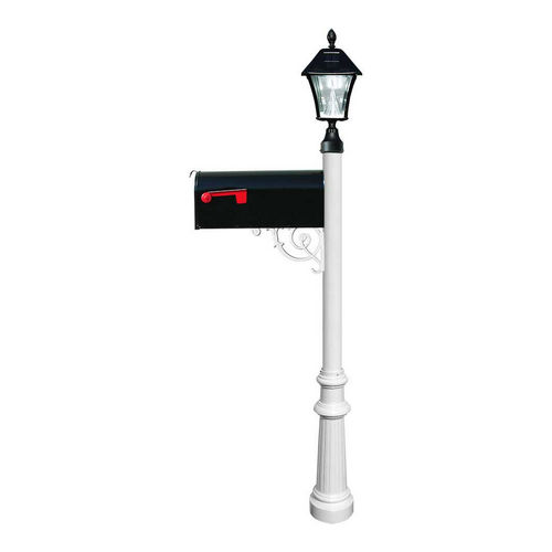 QualArc LPST-800-E1-SL-WHT Lewiston Post with Economy #1 Mailbox, White with Black Solar Lamp