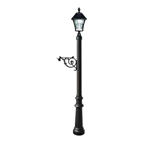 QualArc LPST-800-SL-BL Lewiston Post Only with Support Brace, Black with Black Bayview Solar Lamp.