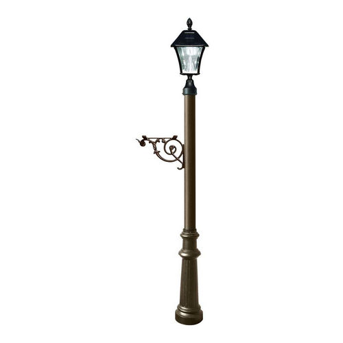 QualArc LPST-800-SL-BZ Lewiston Post Only with Support Brace, Bronze with Black Bayview Solar Lamp.