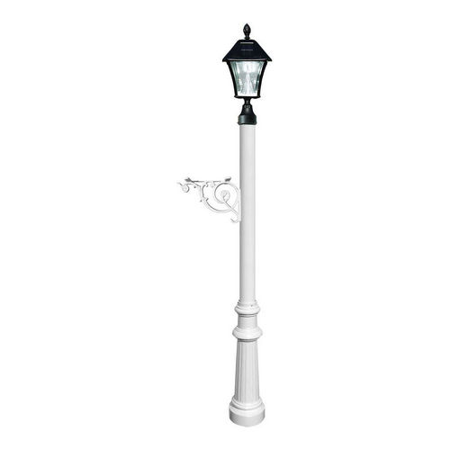 QualArc LPST-800-SL-WHT Lewiston Post Only with Support Brace, White with Black Bayview Solar Lamp.
