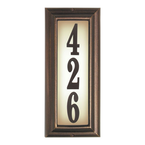 QualArc LTV-1303-AC Edgewood Vertical Lighted Address Plaque, Antique Copper Frame