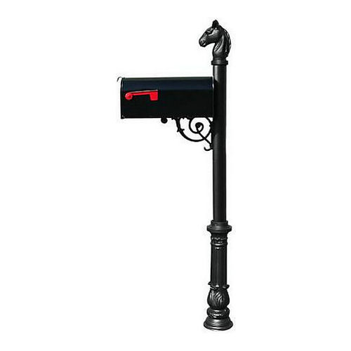 QualArc LPST-701-E1-BL Lewiston Post with E1 Economy Mailbox with Ornate Base & Horsehead