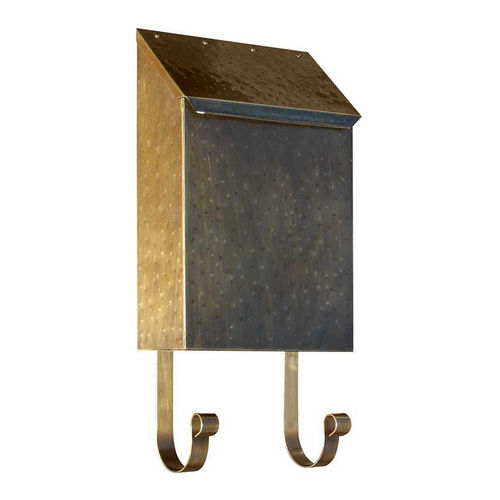 QualArc MB-400-AB Provincial Collection Brass Mailbox Vertical, Antique Hammered Brass