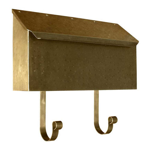 QualArc MB-500-AB Provincial Collection Brass Mailbox Horizontal, Antique Hammered Brass
