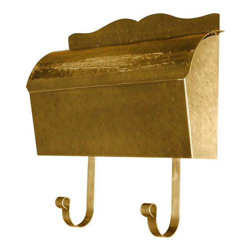 QualArc MB-900-AB Provincial Collection Brass Mailbox Roll Top, Antique Hammered Brass