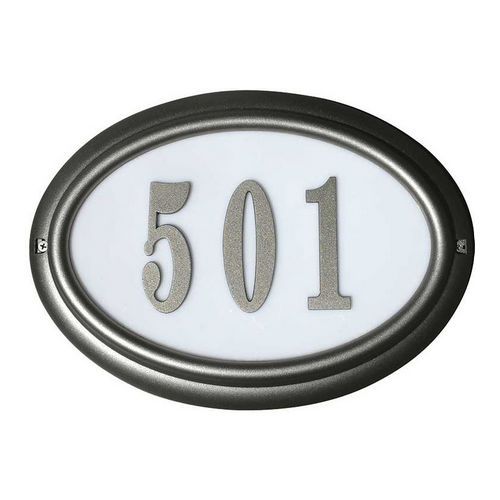 QualArc LTO-1302-BL Edgewood Oval Lighted Address Plaque, Black Frame
