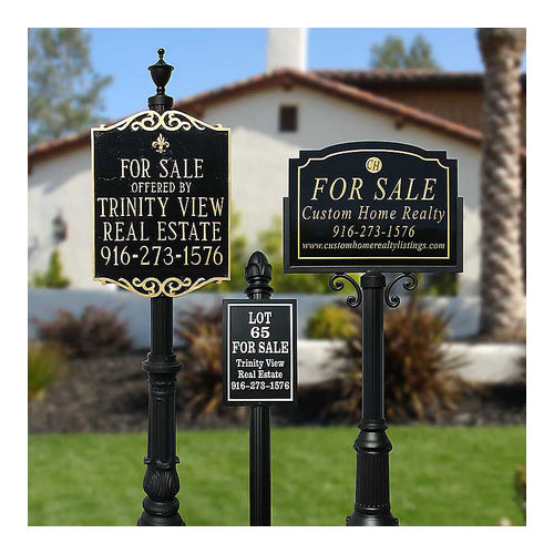 QualArc RCVRE-503-BL Richvale Sign System with Split Compact Base 5 & Pineapple Finial, Black
