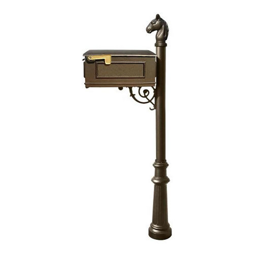 QualArc LPST-801-BZ Lewiston Post Only (with Fluted Base & Horsehead Finial), Bronze