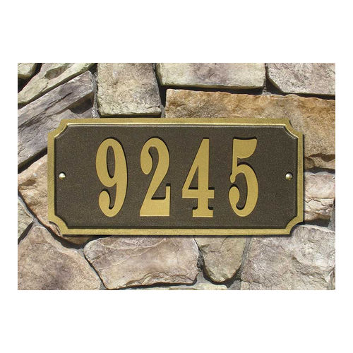 QualArc WATR-REC-BZ Waterford Rectangle Cast Aluminum Bronze with Gold Border Address Plaque