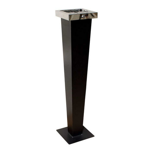 Qualarc WF-PS08S Huron Free Standing Cigarette Ash Receptacle, Black with Chrome