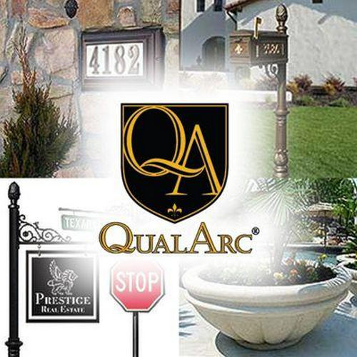 QualArc WESRE-SC2S4-WHT Westhaven Sign System with Square Collar Base & Large Ball Finial, White