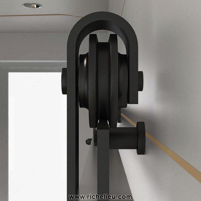 Richelieu 2460302matpvc set for wood door with visible steel hardware thebu - Kit rail porte coulissante exterieure ...