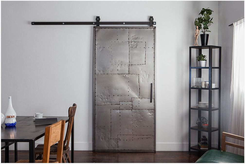 Superior Rustica Hardware Mountain Scrap Metal Door + Top Mount Industrial Barn Door  Hardware System