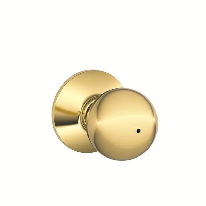 Schlage F40n Orbit 16080 10027 Knob Lockset Bright Brass
