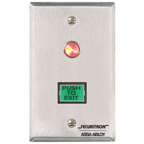 Securitron PB3 Push Button Momentary, Single Gang, Illuminated, Green/Red Lens