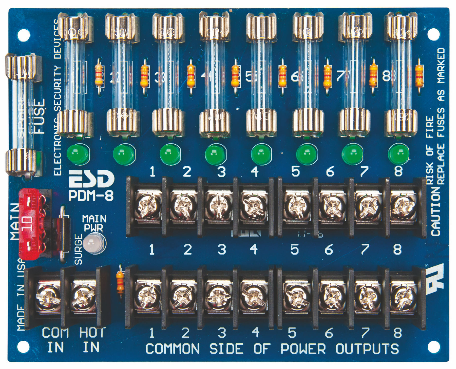 Securitron PDB-8F2 Power Distribution Board 8 Fused Output, 2 Amp ...