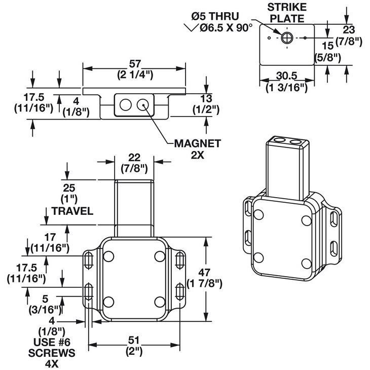 Hafele 245 75 930 Heavy Duty Magnetic Push Latch