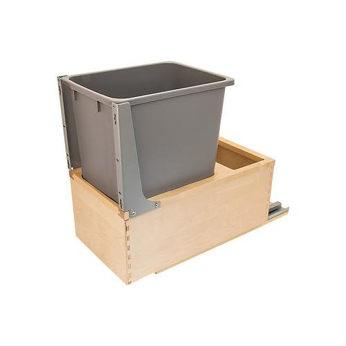 Hafele 503.88.852 Waste Bin Pull-Out, Wood Frame, Bottom Mount, Single, with Grass Elite Undermount Slides