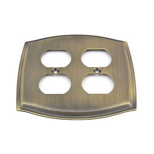 Baldwin 4781050 Double Outlet Colonial Switch Plate Antique Brass Finish