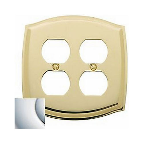 Baldwin 4781260 Double Outlet Colonial Switch Plate Bright Chrome Finish
