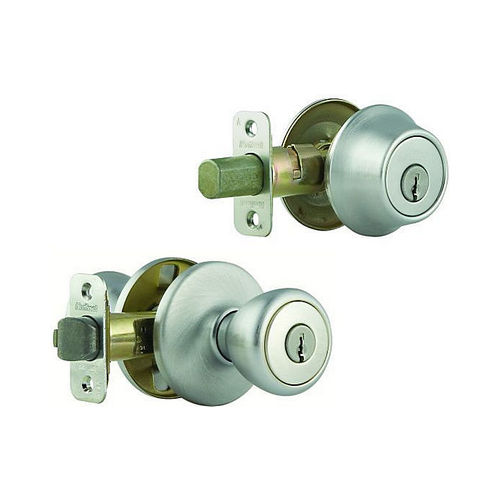 Kwikset 695T-26D-B Combo Keyed Entry Tylo Knob with Double Cylinder Deadbolt - Box Pack with RCAL Latch and RCS Strike Satin Chrome Finish
