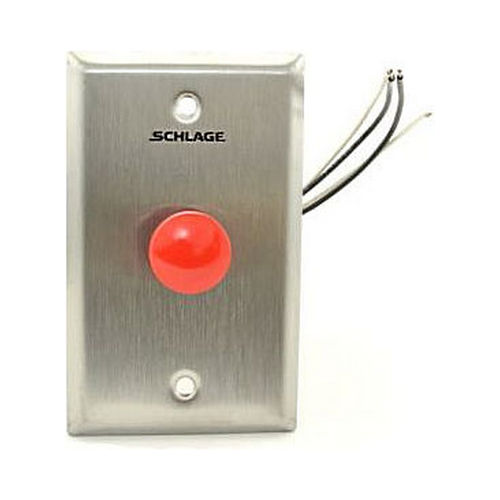 Schlage Electronic 701RD630 SPDT Momentary Red Push Button Satin Stainless Steel Finish