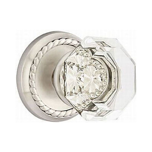 Emtek 8201OTUS15 Old Town Clear Privacy With Rope Rose Satin Nickel Finish