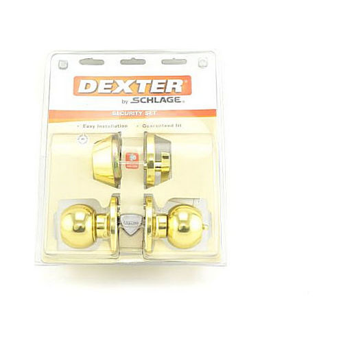 Schlage J Dexter Series JC60VCNA605 Entry Combo Set Bright Brass Finish with C Keyway, Adjustable Latch and Radius Strike