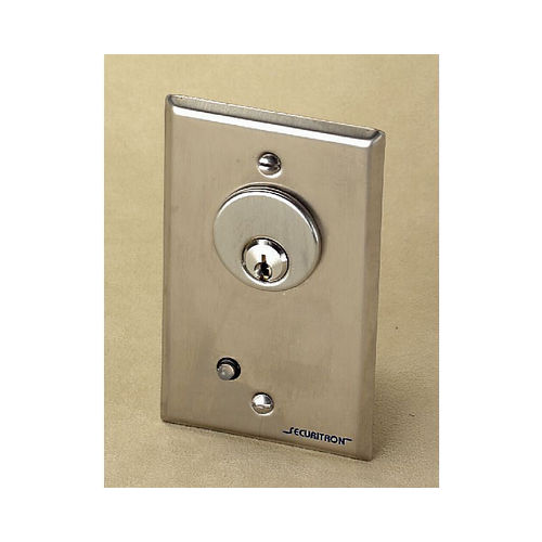 Assa Abloy Electronic Security Hardware - Securitron MKA Single Gang Alternate Mortise Key Switch Satin Stainless Steel Finish