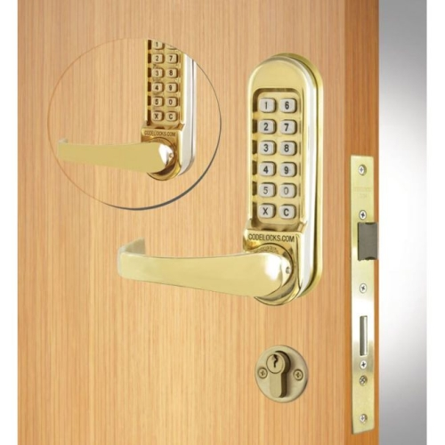 Codelock CL550BBPB Back to Back Double Cylinder Mortise Keypad Lever Lock Polished Brass Finish
