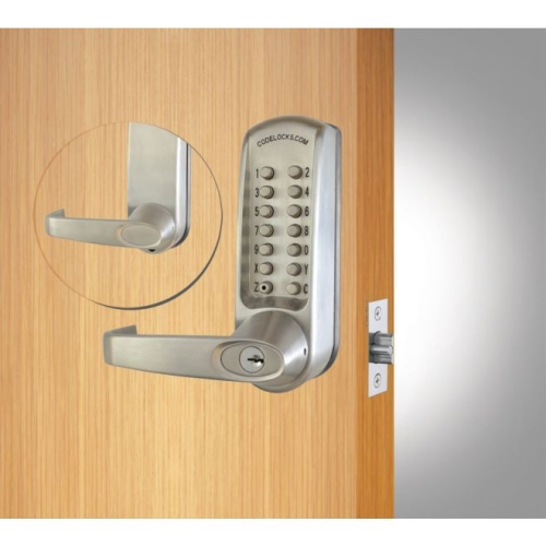 Codelock CL615BS Heavy Duty Tubular Keypad Latchbolt Lever Lock with Code Free Option Brushed Steel Finish