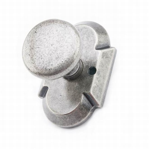 MaxGrade AD31478 Windsor Knob Half Dummy Lock with Arch Rose Rustic Pewter Finish