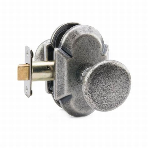 MaxGrade AD31482 Windsor Knob Passage Lock with Arch Rose with Adjustable Latch and Full Lip Strike Rustic Pewter Finish