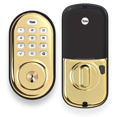Yale Real Living YRD216HA2605 Assure Lock Push Button Deadbolt with ZigBee Bright Brass Finish