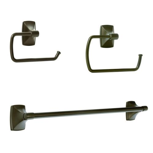 Amerock CLARENDONCBZ1 Bathroom Kit with BH26500CBZ Tissue Roll Holder BH26501CBZ Towel Ring BH26503CBZ Towel Bar Caramel Bronze Finish