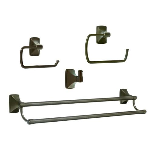 Amerock CLARENDONCBZ5 Bathroom Kit with BH26500CBZ Tissue Roll Holder BH26501CBZ Towel Ring BH26505CBZ Double Towel Bar BH26502CBZ Robe Hook Caramel Bronze Finish