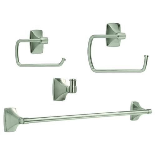 Amerock CLARENDONG104 Bathroom Kit with BH26500G10 Tissue Roll Holder BH26501G10 Towel Ring BH26504G10 Towel Bar BH26502G10 Robe Hook Satin Nickel Finish